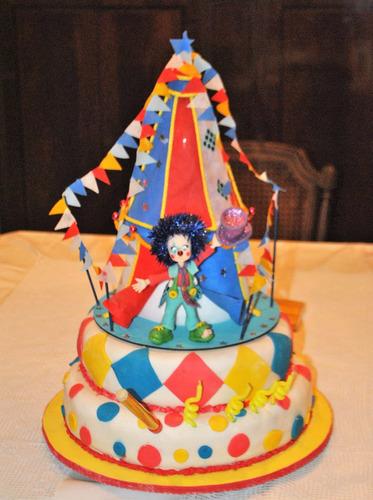 adorno para torta porcelana carpa de circo y payaso