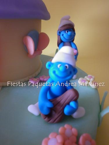 adorno para tortas pitufos cotillon infantil