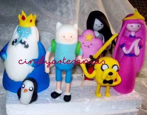 adorno torta hora de aventura x 7 piezas porcelana fría