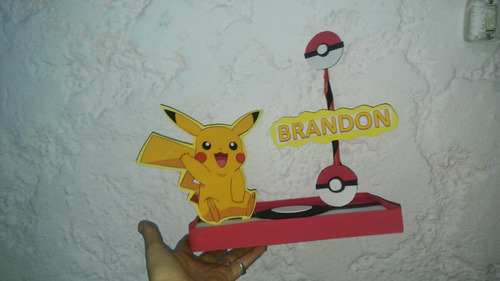 adorno torta pokemon centro de mesa pikachu
