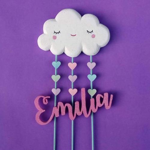 adorno torta topper personalizado corazon nube niña nena