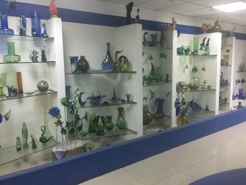 adorno vidrio arte murano jarron florero azul co.12