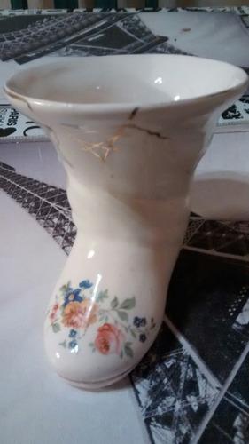 adorno vintage antiguo loza- bota c/ boca ancha