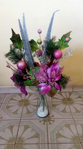 adornos flores navideñas para floreros ( 6 $ )