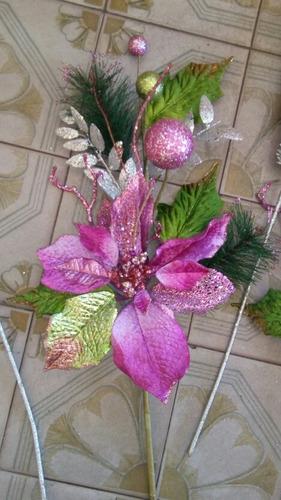 adornos flores navideñas para floreros