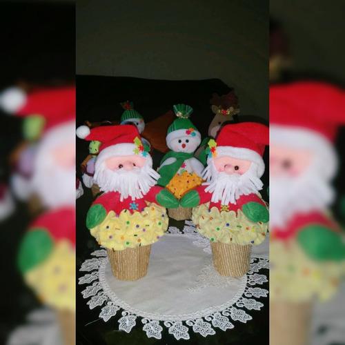 adornos navidad santa muñeco de nieves, barquillas renos