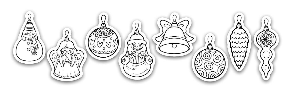 Imagenes De Adornos De Navidad Para Colorear.Adornos Navidenos Adhesivos Para Colorear Navidenos 52x14 P