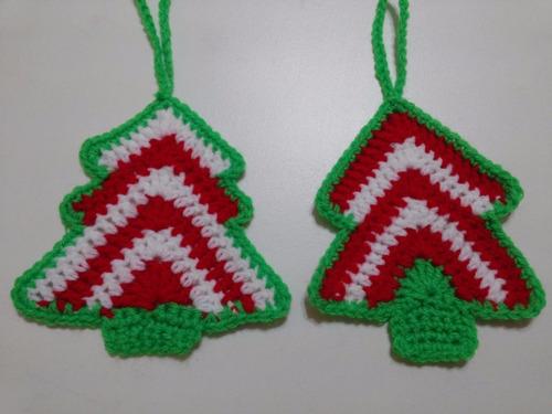 adornos navideños: arbolitos 9-10 cms. tejidos a crochet