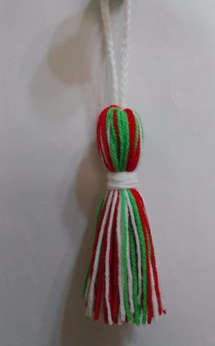 adornos navideños: borlas, 10 cms. tejidas a crochet