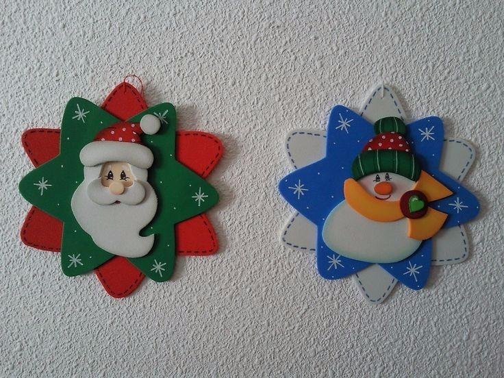 adornos navide os en foami santa claus mu eco de nieve y