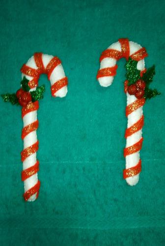 adornos navideños para el árbol bastones en fieltro miden 20