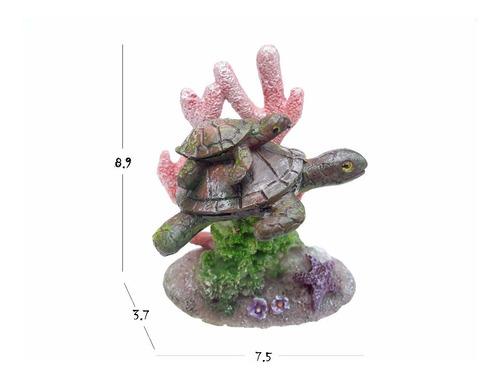 adornos para acuarios - tortuga en coral  dophin