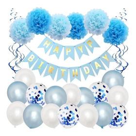 Adornos Para Cumpleaños Globos - Ponpones - Cartel Pack
