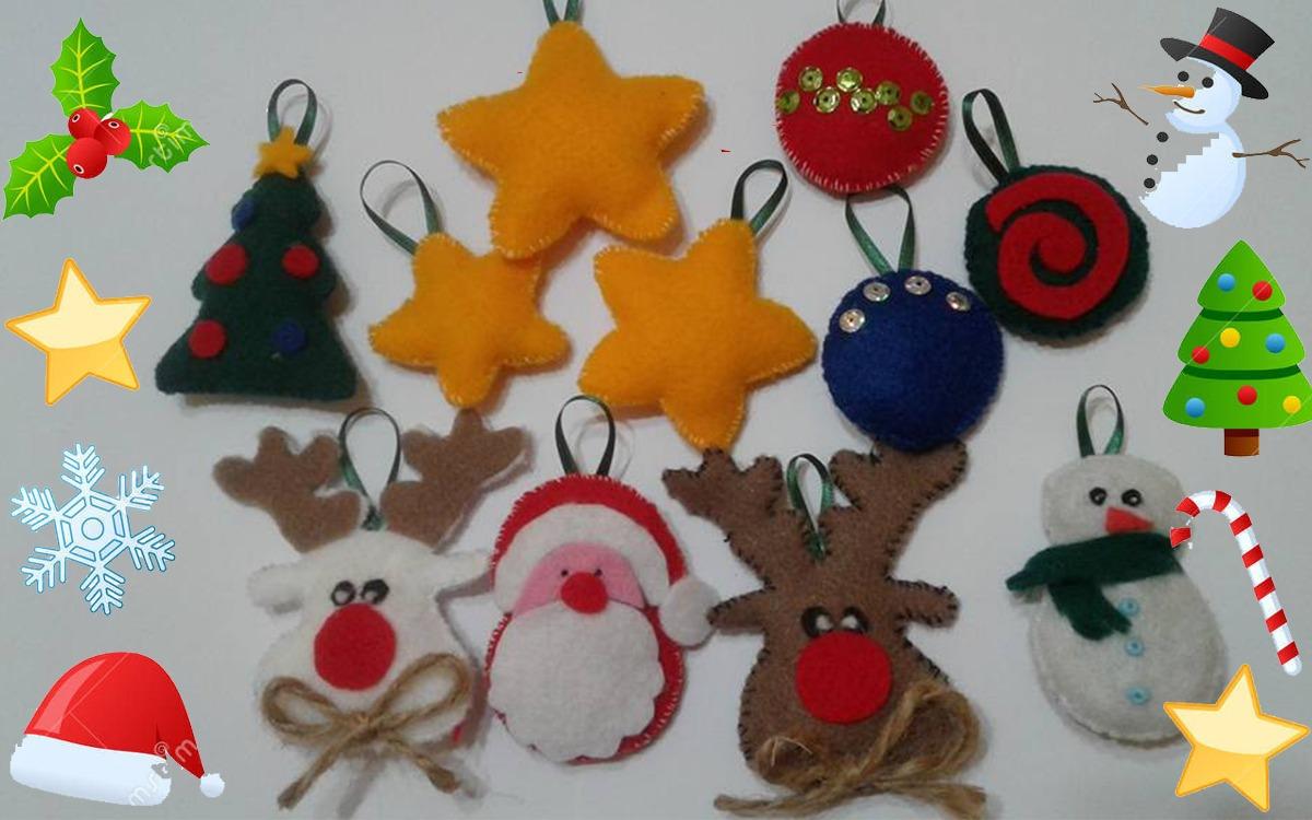 Adornos Para El Arbolito De Navidad X5 Originales De Tela 120 - Adornos-originales-para-navidad
