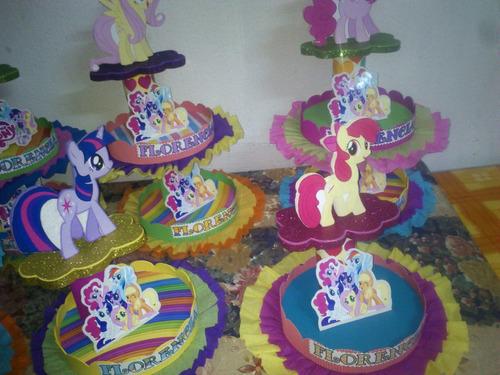 adornos para tortas, centros de mesa my little pony