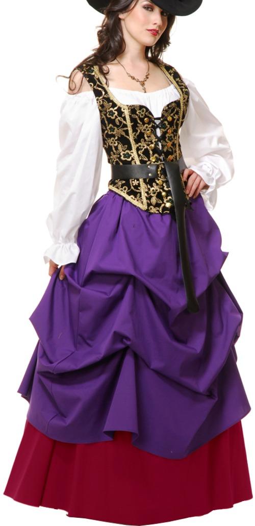 Adulto Womens Purple País Occidental Dama Moza Vestido De ...