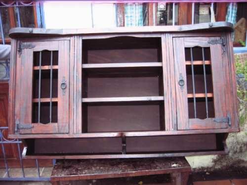 aereo de cocina rustico madera maciza, 2ptas y estantes.