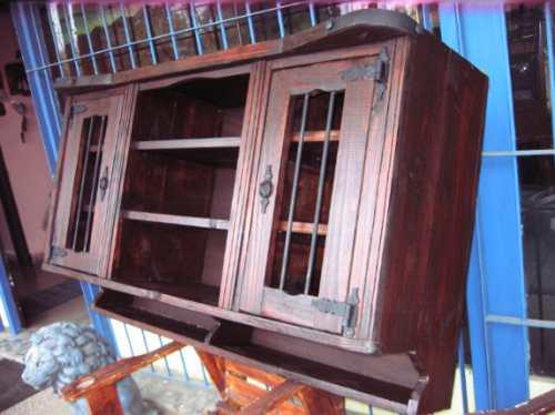 Aereo de cocina rustico madera maciza 2ptas y estantes for Muebles de madera rusticos para cocina