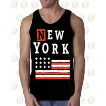 Camisilla Hombre Esqueleto 100% Algodon Bandera Usa New York