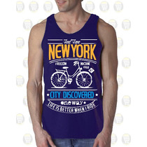 Camisilla Hombre Esqueleto 100% Algodon Diseño: Bicicleta Ny