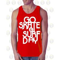 Camisilla Hombre Esqueleto Algodon Gym - Go Skate & Surf Day