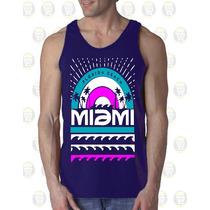 Camisilla Hombre Esqueleto 100% Algodon Miami Beach Playa