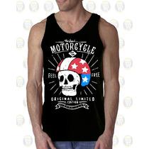 Camisilla Hombre Esqueleto Algodon Diseño : Skull Motorcycle