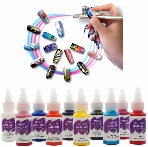 aerografia pintura para uñas set basico con 10pz 1oz iwata