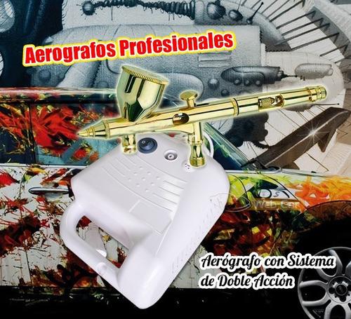 aerografo profesional metalico con compresor - doble accion