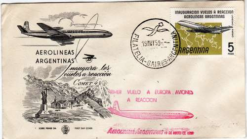 aerolineas argentinas primer vuelo europa reaccion año 1959