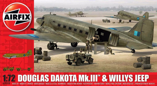 aeromodelismo avion dakota c47 dc3 + jeep willys 1/72 airfix