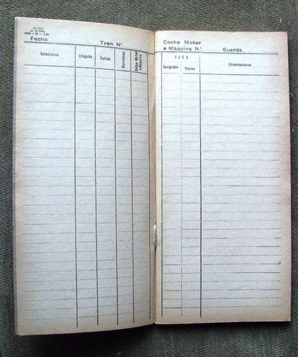 a.f.e.antigua libreta de maquinista sin utilizar 24x11 cms.