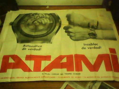 afiche antiguo publicidad relojes atami no crono raúl afiche