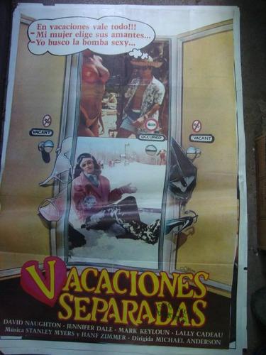 afiche cine original vacaciones separadas 110 x0,75 póster