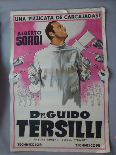 afiche de cine dr.guido tersilli. alberto sordi-italia 1969