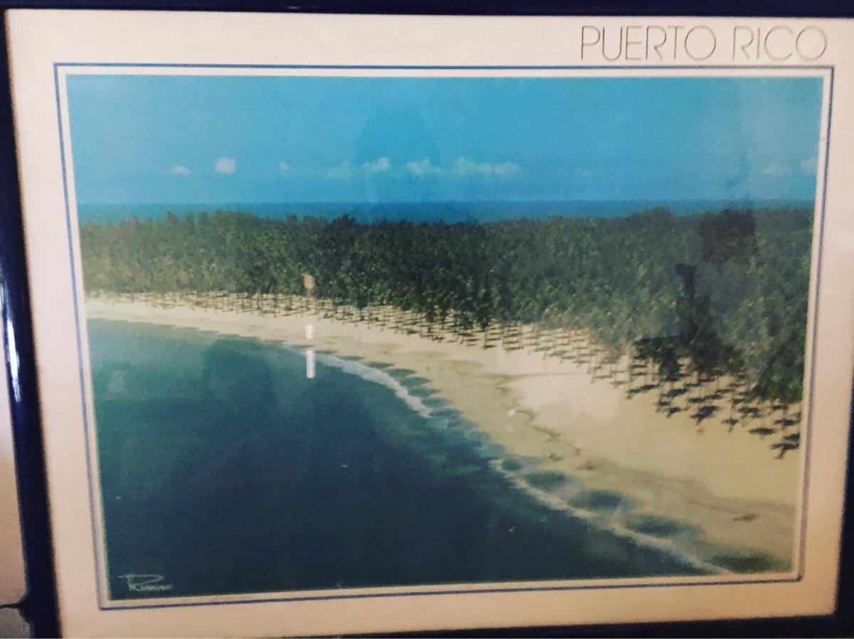 Afiche De Playa Puerto Rico Enmarcado Con Vidrio - Bs. 18.000.000,00 ...