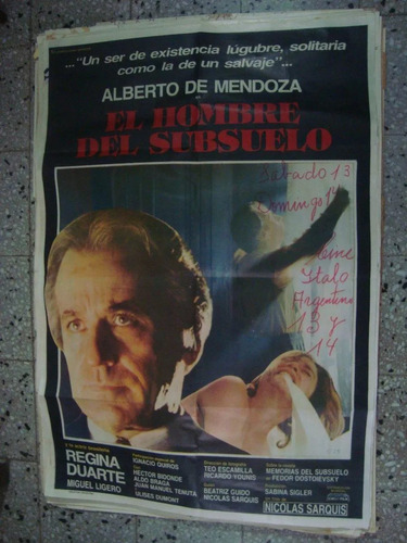 afiche orig cine el hombre del subsuelo de mendoza 110x75
