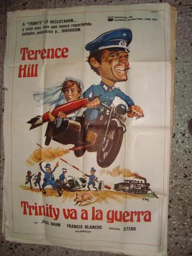 afiche orig cine pelicula trinity va a la guerra hill 110x75