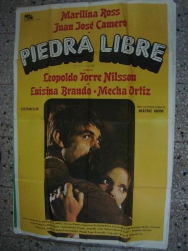 afiche orig pelicula cine 110x75 piedra libre m. ross camero