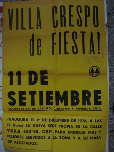 afiche original villa crespo de fiesta coop de crédito 80x50