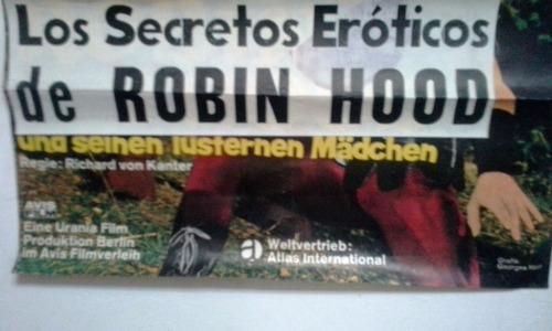 afiche película años 70 los secretos eróticos de robin hood
