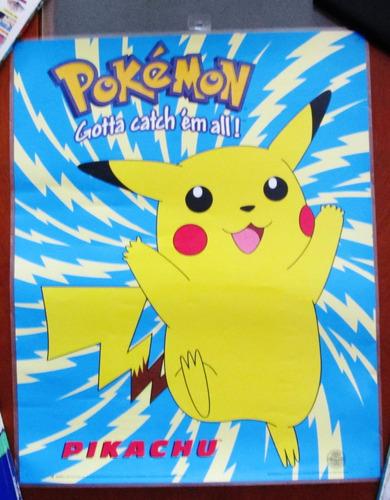 afiche pokémon pikachu original nintendo plastificado