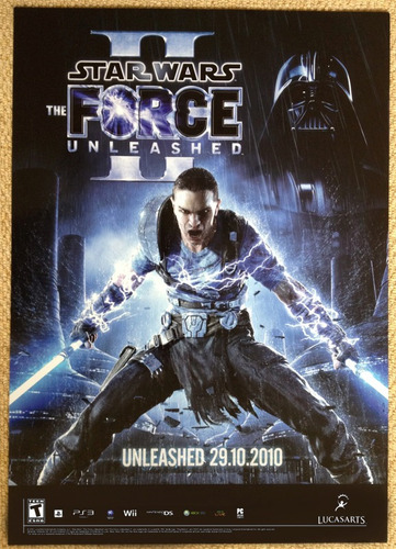 afiche poster promocional star wars the force unleashed 2