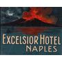 Luggage Sticker Hotel Excelsior Napoles Italia Vesubio Raro