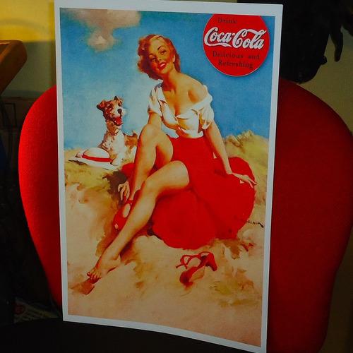 afiches publicitarios pinup coca-cola reproducción 27x42 cm.