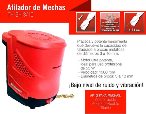 afilador de mechas electrico hasta 10mm einhell th sh 3/10