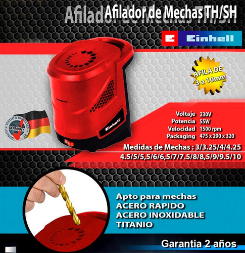 afilador de mechas eléctrico hasta 10mm einhell th-sh3/10