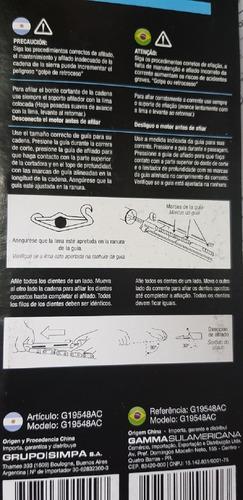 afilador manual de cadenas motosierra - 3/16 4.8mm paso .325lp blister  gamma martins