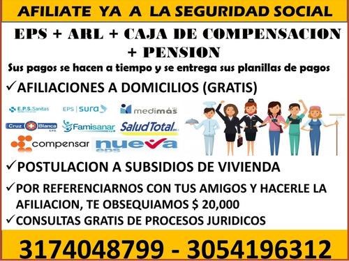 afiliaciones a la seguridad social eps+arl+caja+pension