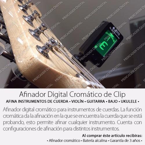 afinador cromático de clip digital guitarra